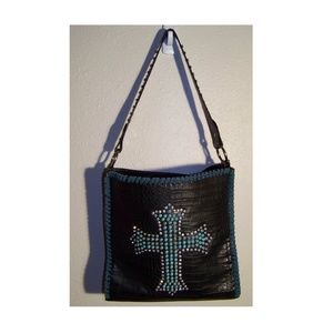 Montana West Turquoise Cross Studded Reptile Bag